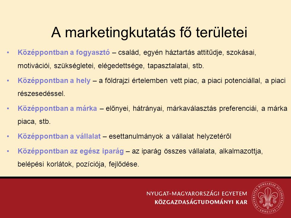 A marketingkutatás fő területei