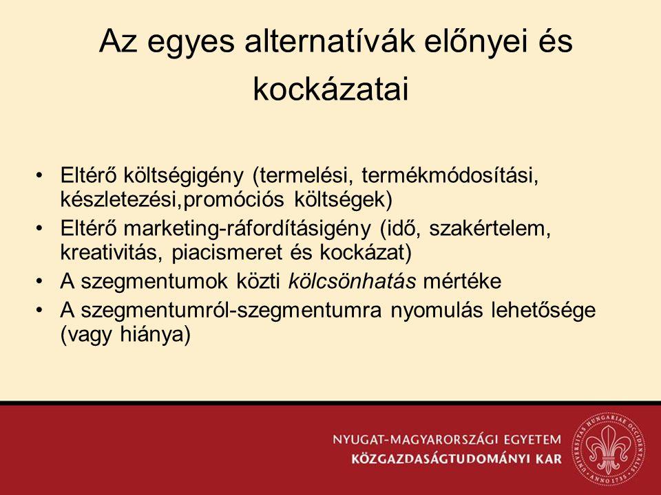Az egyes alternatívák előnyei és kockázatai