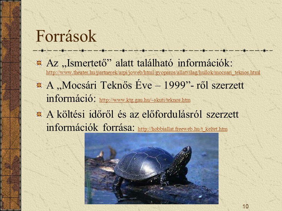 """Források Az """"Ismertető alatt található információk: http://www.theater.hu/partnerek/arpi/joweb/html/gyoparos/allatvilag/hullok/mocsari_teknos.html."""
