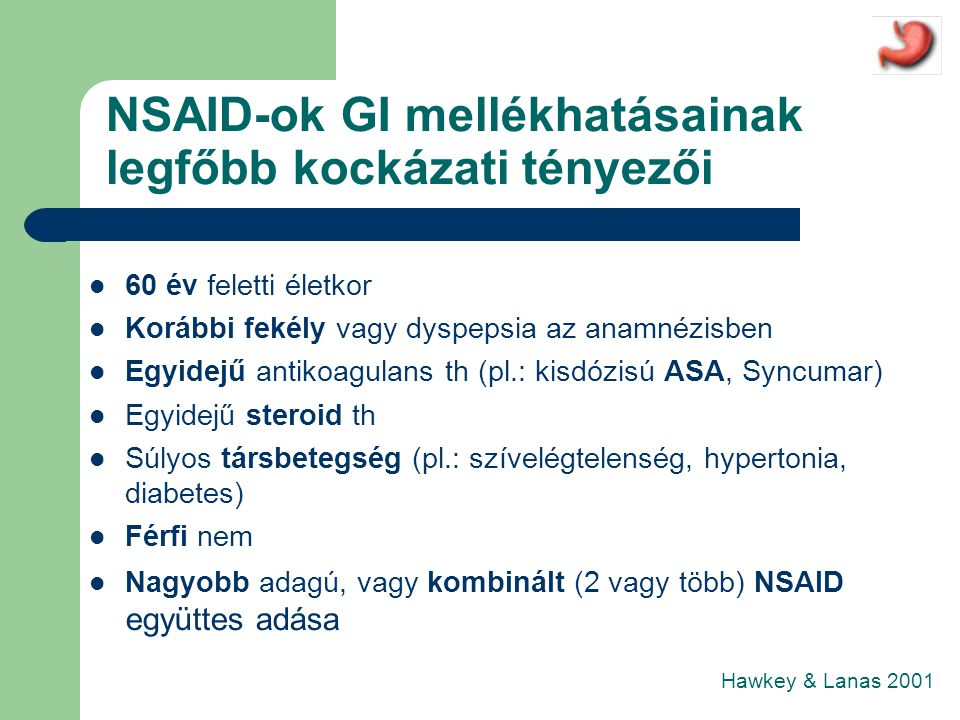 NSAID-ok GI mellékhatásainak legfőbb kockázati tényezői