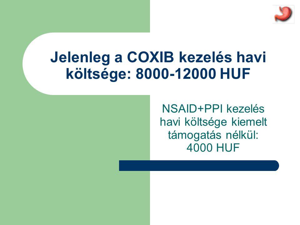 Jelenleg a COXIB kezelés havi költsége: 8000-12000 HUF