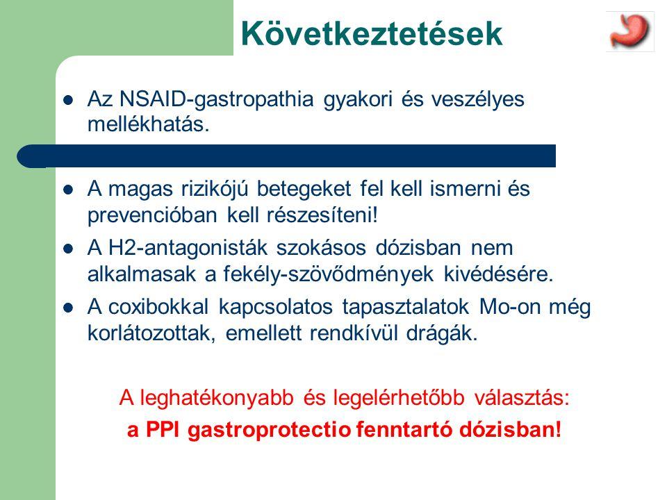 a PPI gastroprotectio fenntartó dózisban!