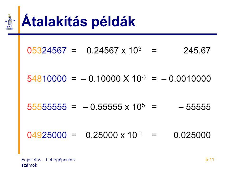 Átalakítás példák 05324567. = 0.24567 x 103. 245.67. 54810000. – 0.10000 X 10-2. – 0.0010000.
