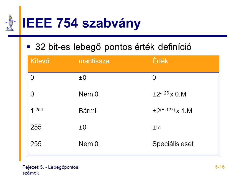 IEEE 754 szabvány 32 bit-es lebegő pontos érték definíció Kitevő