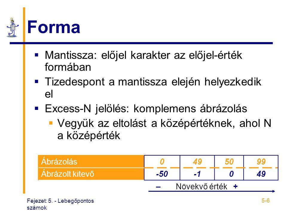 Forma Mantissza: előjel karakter az előjel-érték formában