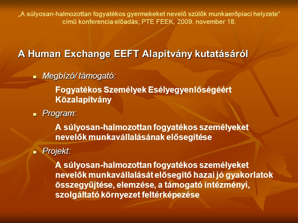 A Human Exchange EEFT Alapítvány kutatásáról