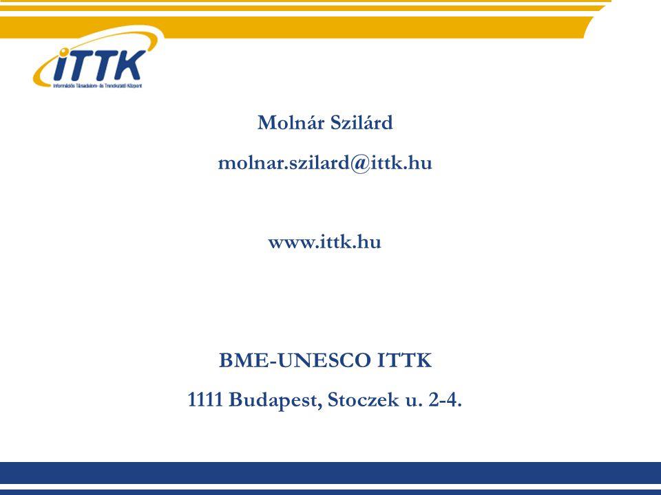 Molnár Szilárd molnar.szilard@ittk.hu www.ittk.hu BME-UNESCO ITTK 1111 Budapest, Stoczek u. 2-4.