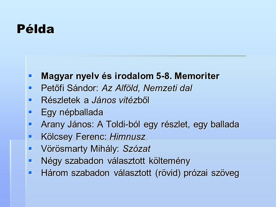 Példa Magyar nyelv és irodalom 5-8. Memoriter