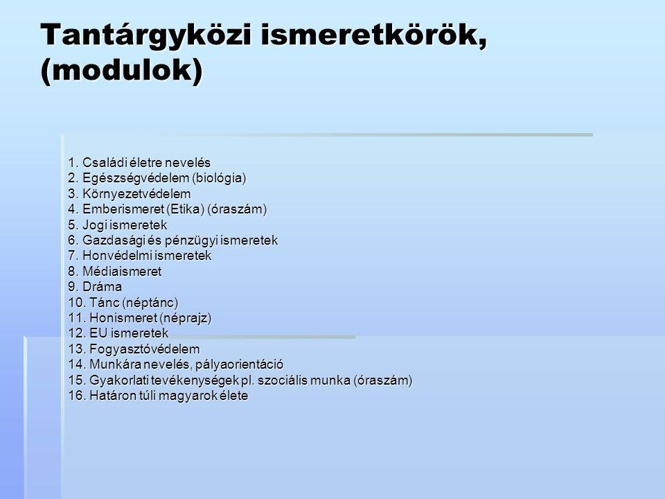 Tantárgyközi ismeretkörök, (modulok)