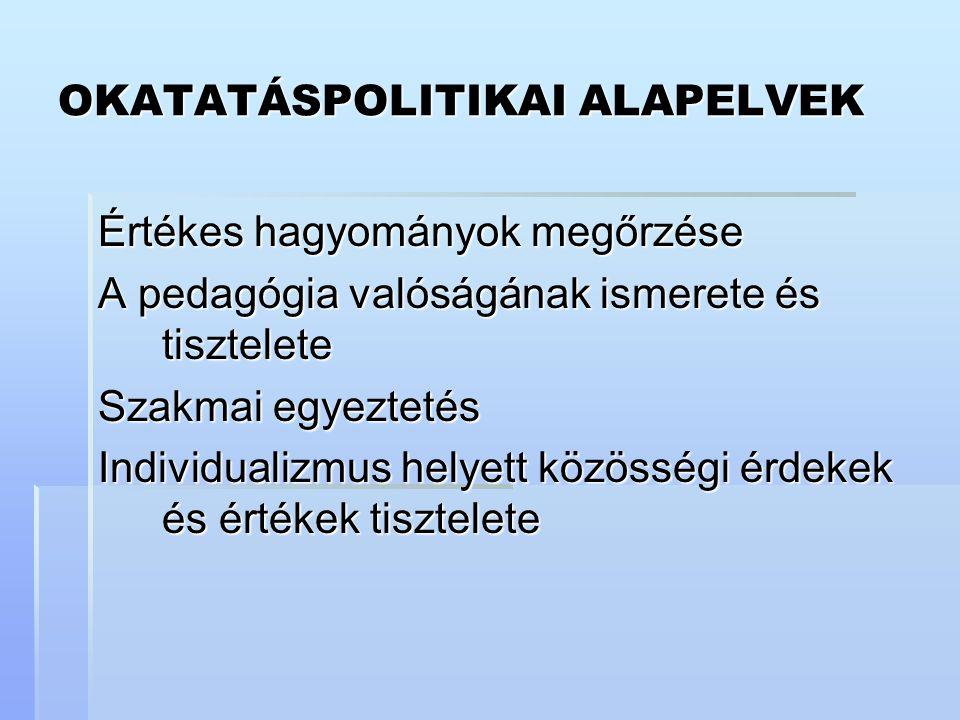 OKATATÁSPOLITIKAI ALAPELVEK