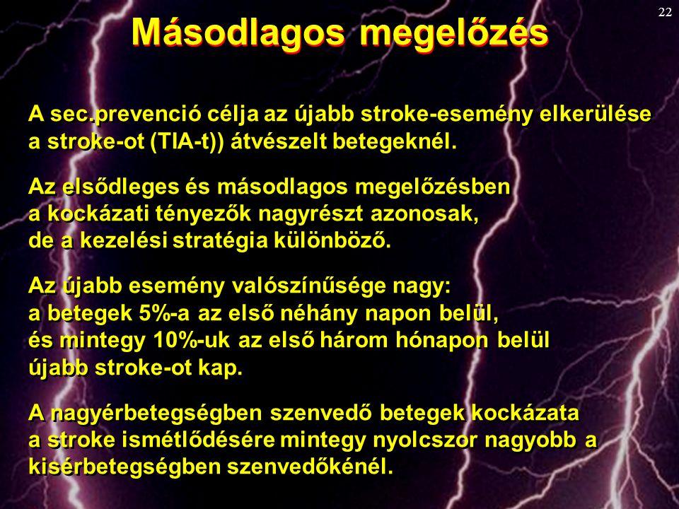 Másodlagos megelőzés A sec.prevenció célja az újabb stroke-esemény elkerülése. a stroke-ot (TIA-t)) átvészelt betegeknél.