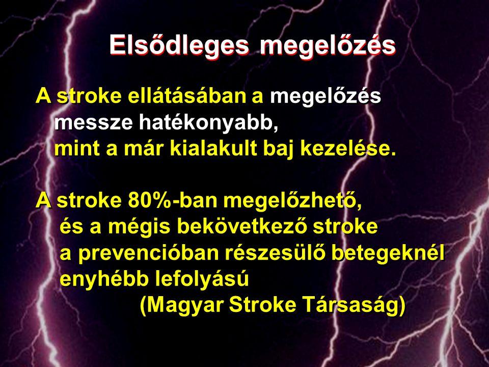 Elsődleges megelőzés A stroke ellátásában a megelőzés