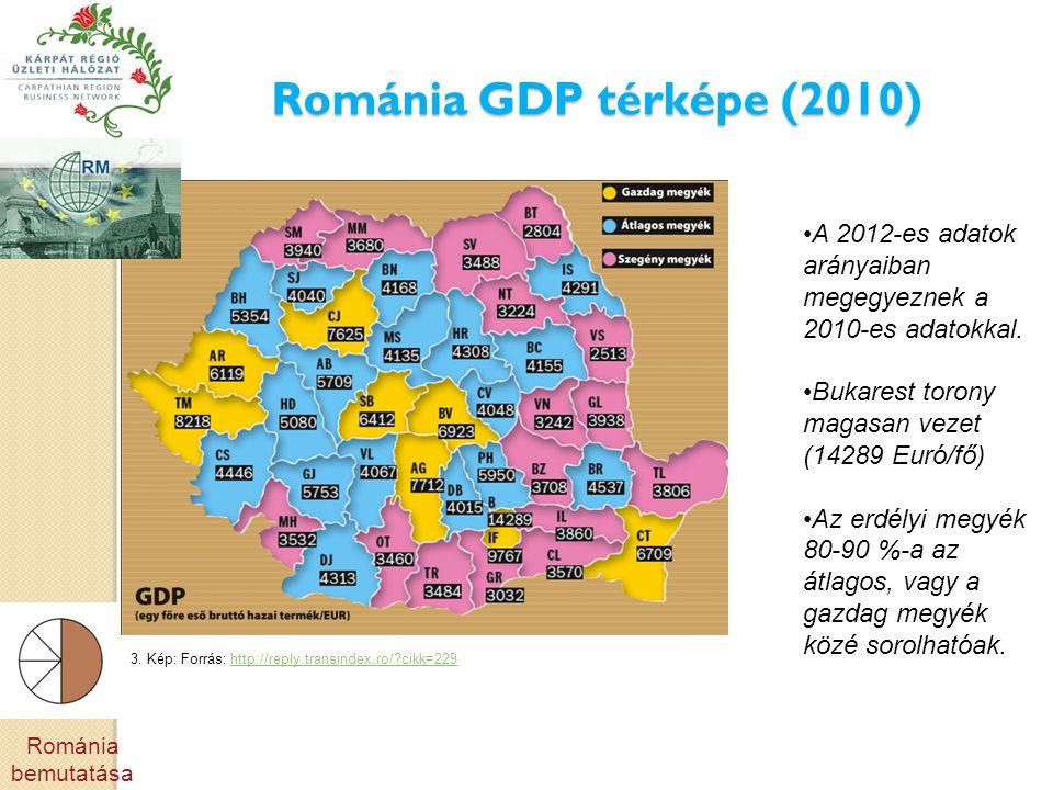 Románia GDP térképe (2010) A 2012-es adatok arányaiban megegyeznek a 2010-es adatokkal. Bukarest torony magasan vezet (14289 Euró/fő)