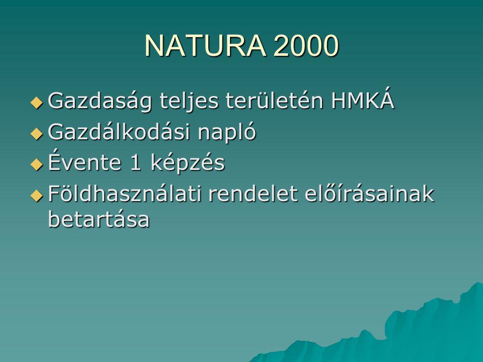 NATURA 2000 Gazdaság teljes területén HMKÁ Gazdálkodási napló