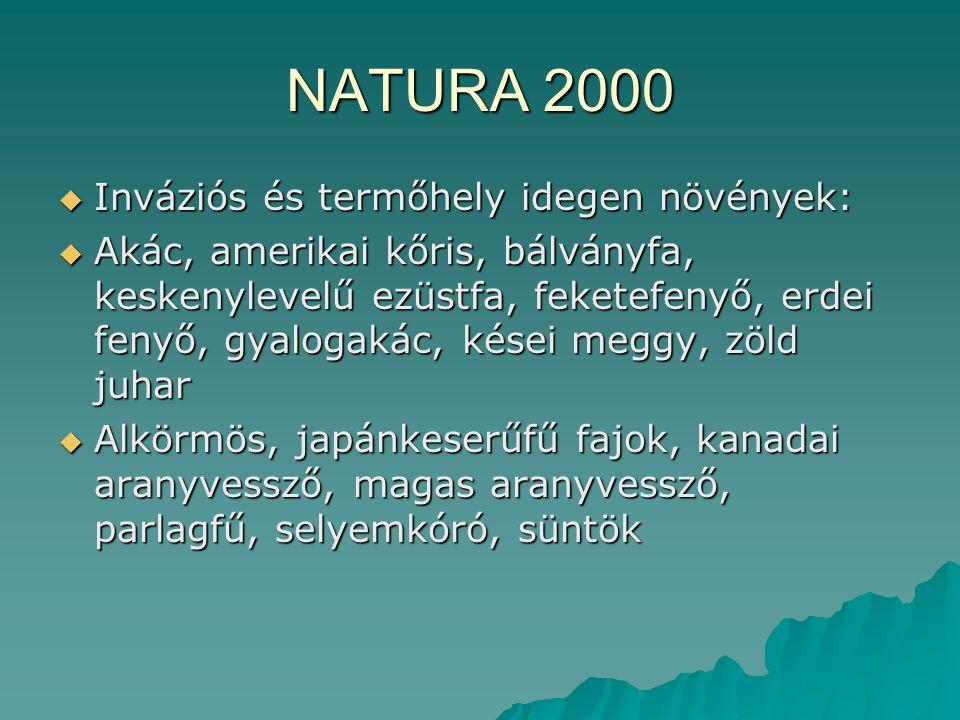 NATURA 2000 Inváziós és termőhely idegen növények: