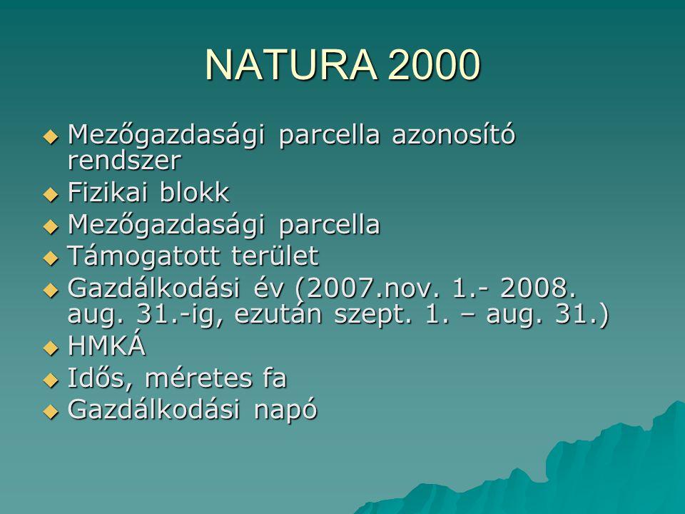 NATURA 2000 Mezőgazdasági parcella azonosító rendszer Fizikai blokk