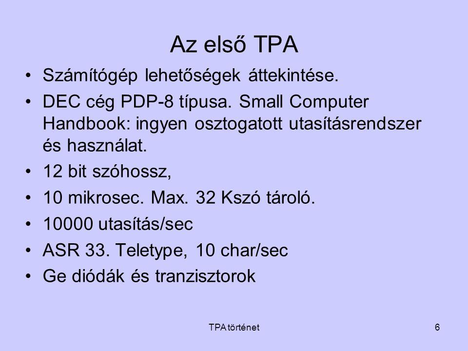 Az első TPA Számítógép lehetőségek áttekintése.