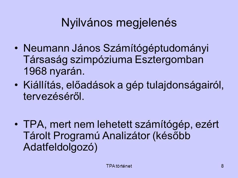 Nyilvános megjelenés Neumann János Számítógéptudományi Társaság szimpóziuma Esztergomban 1968 nyarán.