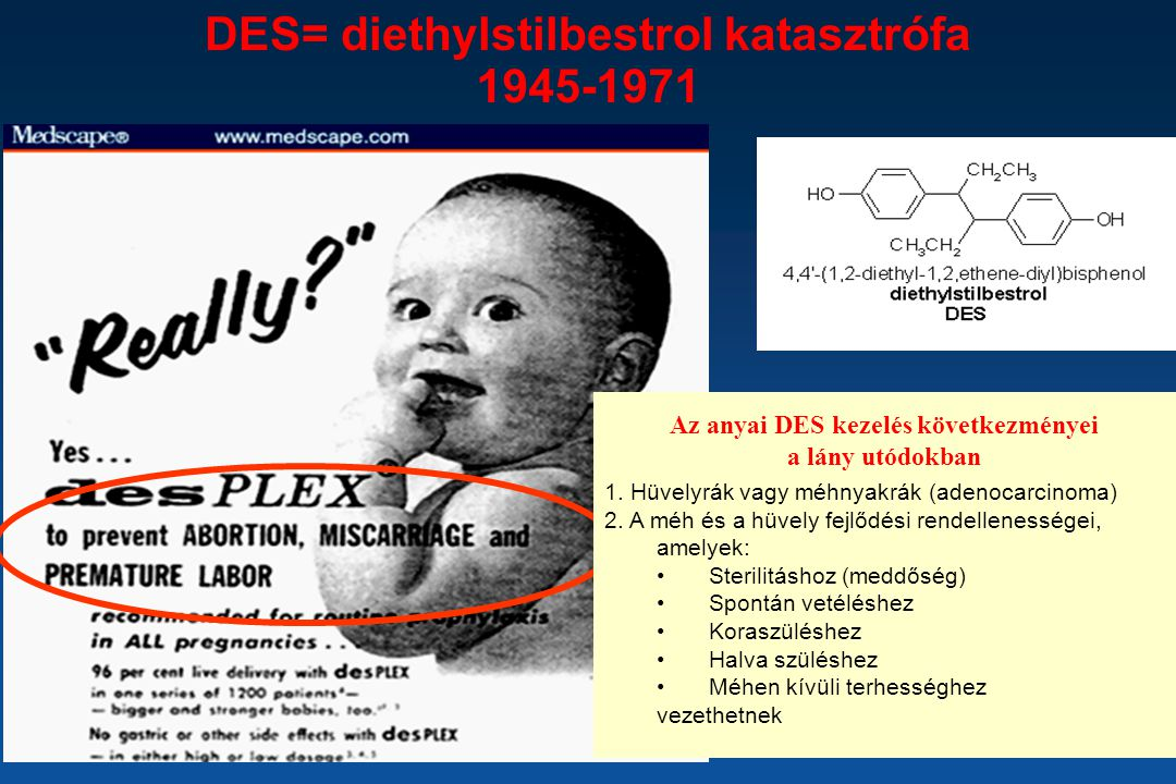 DES= diethylstilbestrol katasztrófa 1945-1971