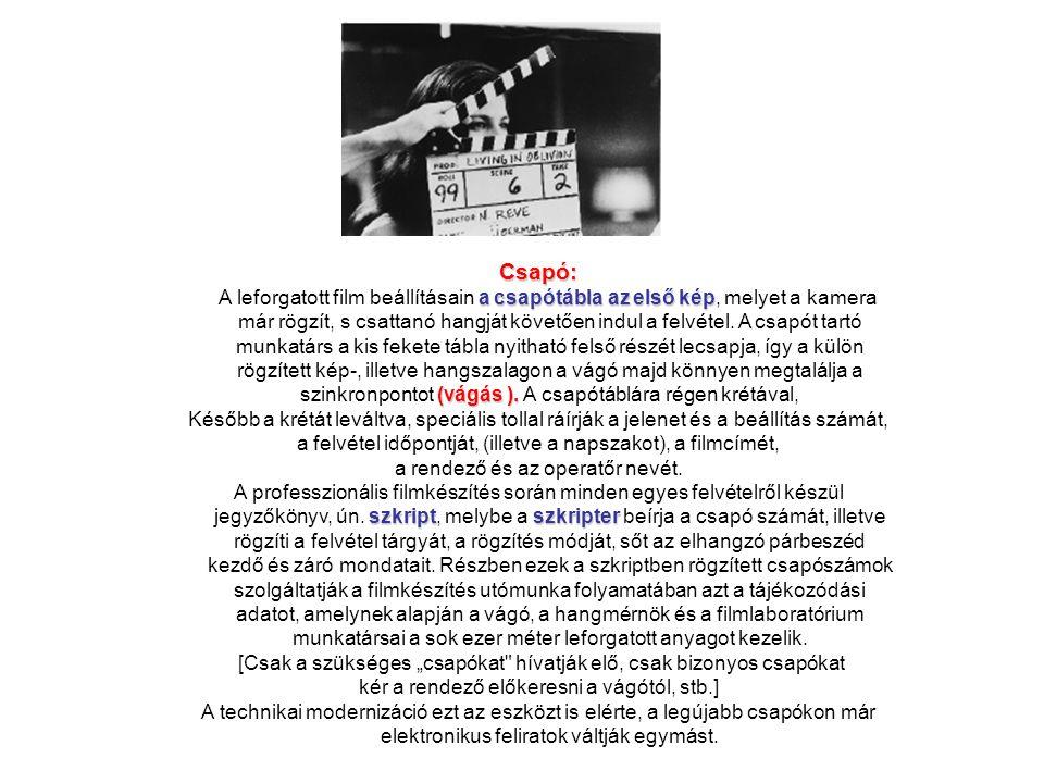 Csapó: A leforgatott film beállításain a csapótábla az első kép, melyet a kamera.