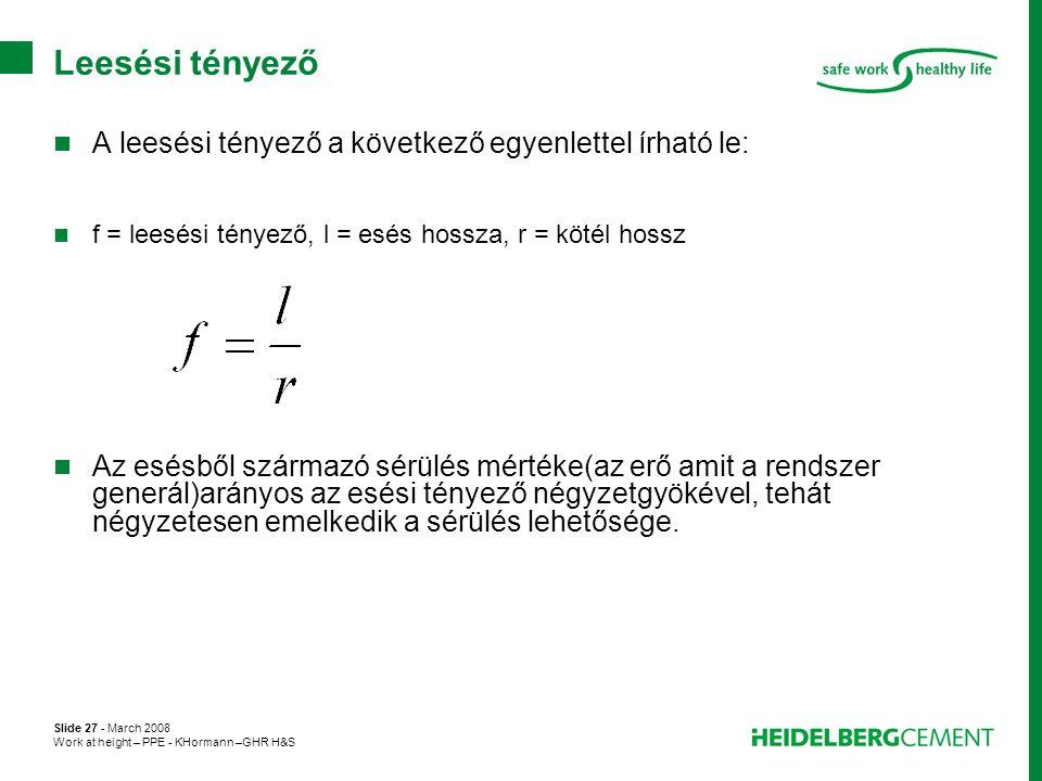 Leesési tényező A leesési tényező a következő egyenlettel írható le: