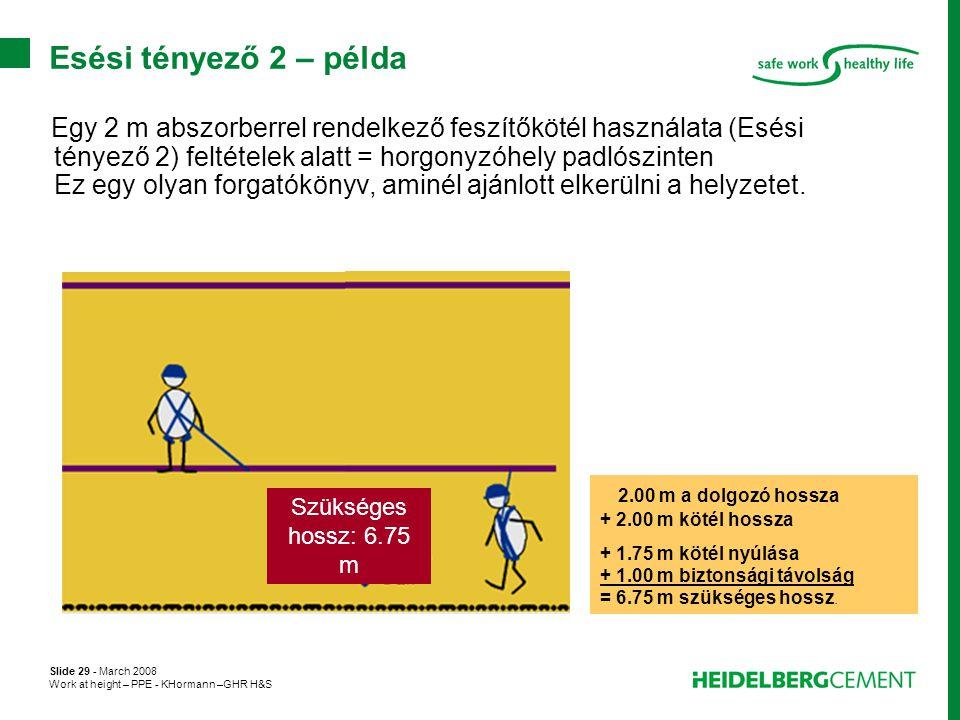 Esési tényező 2 – példa