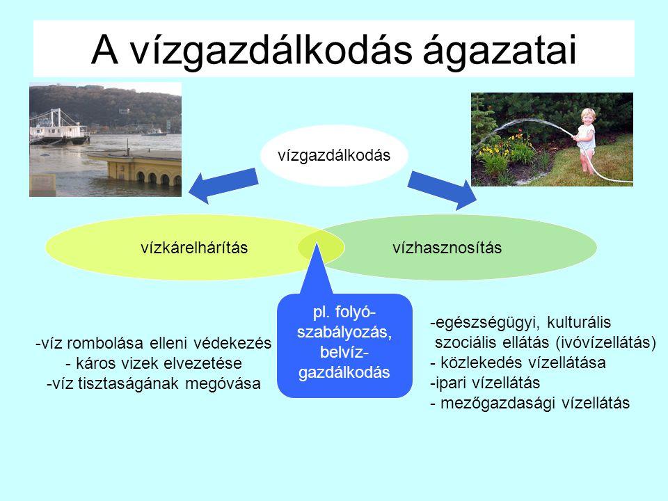 A vízgazdálkodás ágazatai