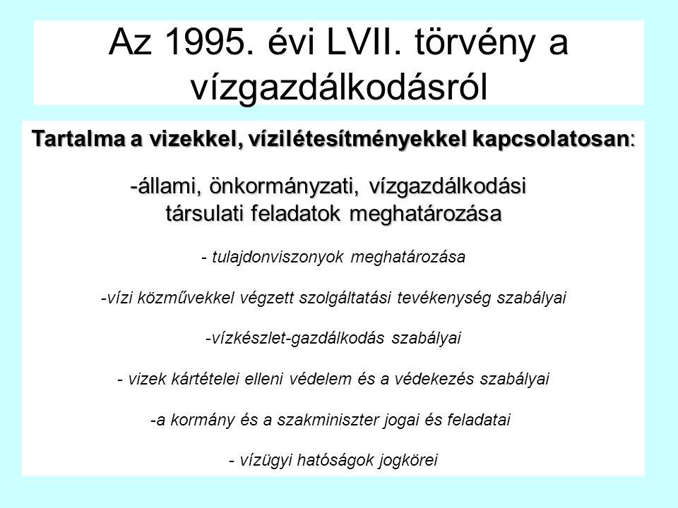 Az 1995. évi LVII. törvény a vízgazdálkodásról