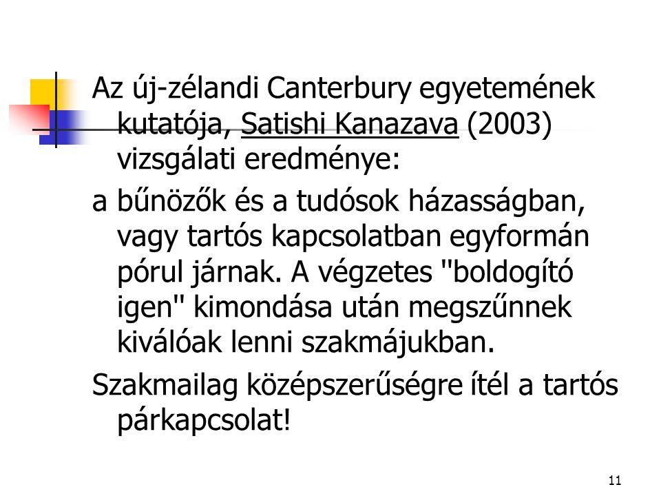 Az új-zélandi Canterbury egyetemének kutatója, Satishi Kanazava (2003) vizsgálati eredménye:
