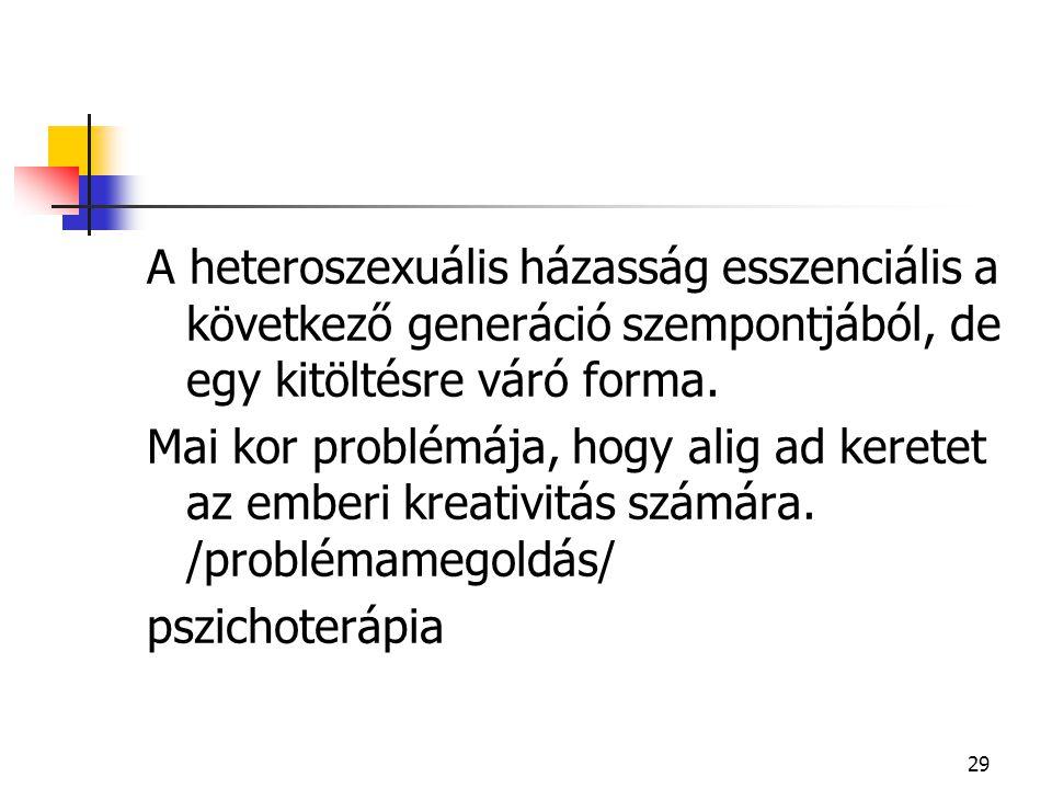 A heteroszexuális házasság esszenciális a következő generáció szempontjából, de egy kitöltésre váró forma.