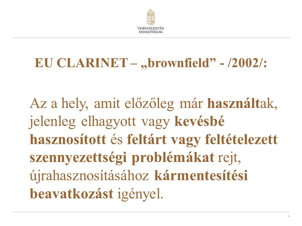 "EU CLARINET – ""brownfield - /2002/:"