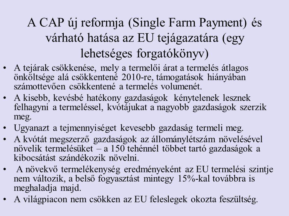 A CAP új reformja (Single Farm Payment) és várható hatása az EU tejágazatára (egy lehetséges forgatókönyv)