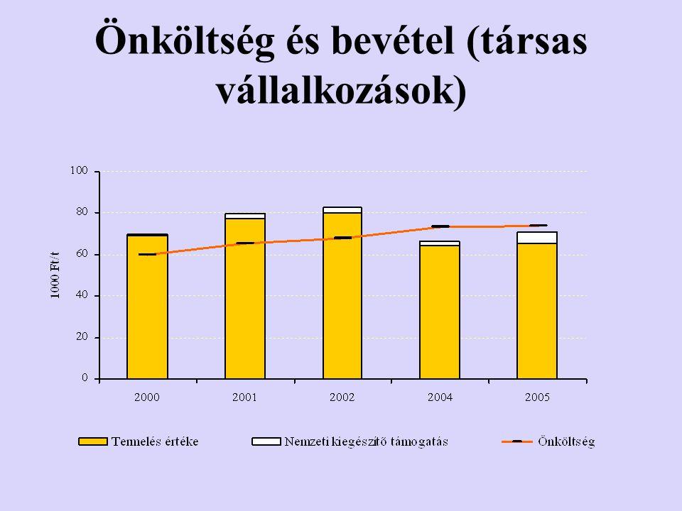 Önköltség és bevétel (társas vállalkozások)