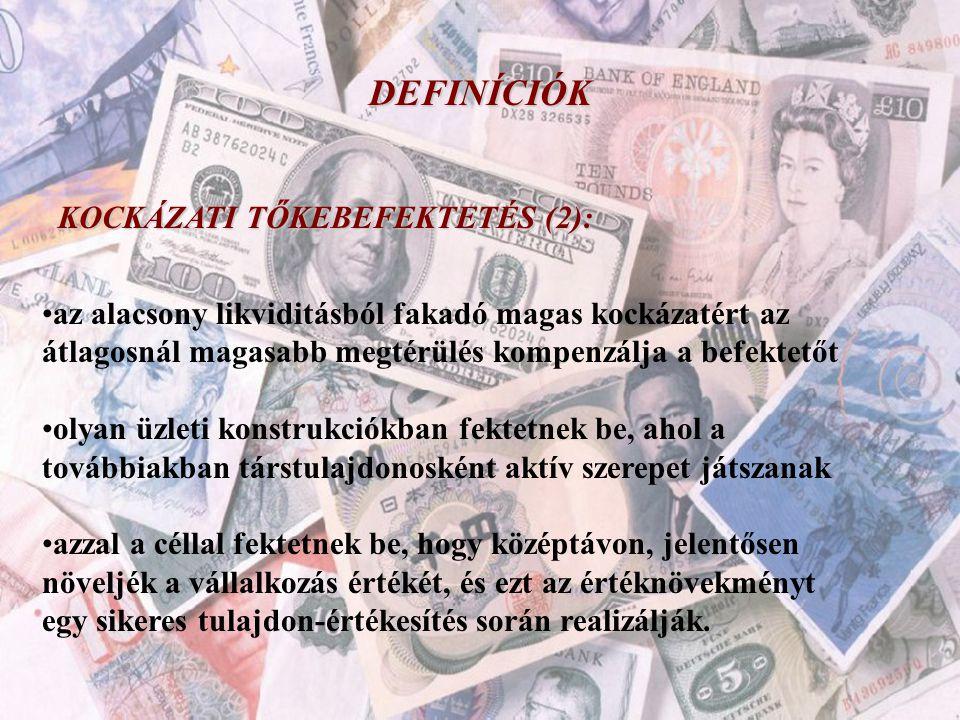 DEFINÍCIÓK KOCKÁZATI TŐKEBEFEKTETÉS (2):