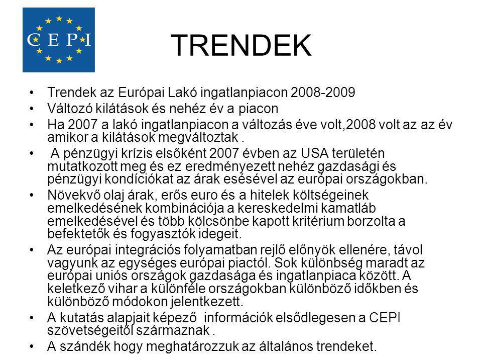 TRENDEK Trendek az Európai Lakó ingatlanpiacon 2008-2009
