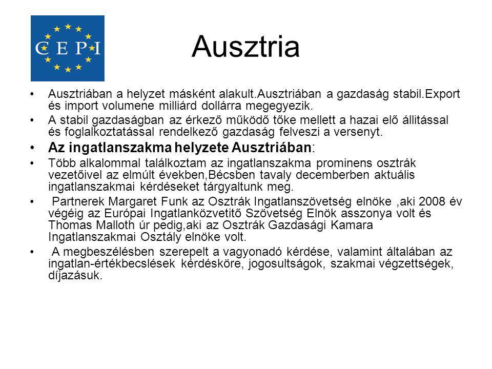 Ausztria Az ingatlanszakma helyzete Ausztriában: