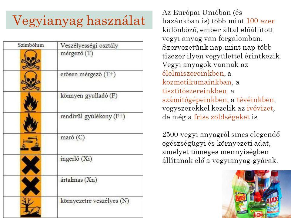 Az Európai Unióban (és hazánkban is) több mint 100 ezer különböző, ember által előállított vegyi anyag van forgalomban. Szervezetünk nap mint nap több tízezer ilyen vegyülettel érintkezik. Vegyi anyagok vannak az élelmiszereinkben, a kozmetikumainkban, a tisztítószereinkben, a számítógépeinkben, a tévéinkben, vegyszerekkel kezelik az ivóvizet, de még a friss zöldségeket is.