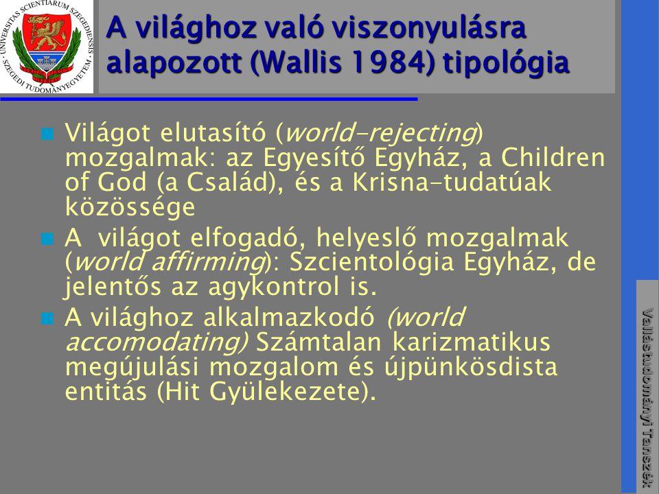 A világhoz való viszonyulásra alapozott (Wallis 1984) tipológia