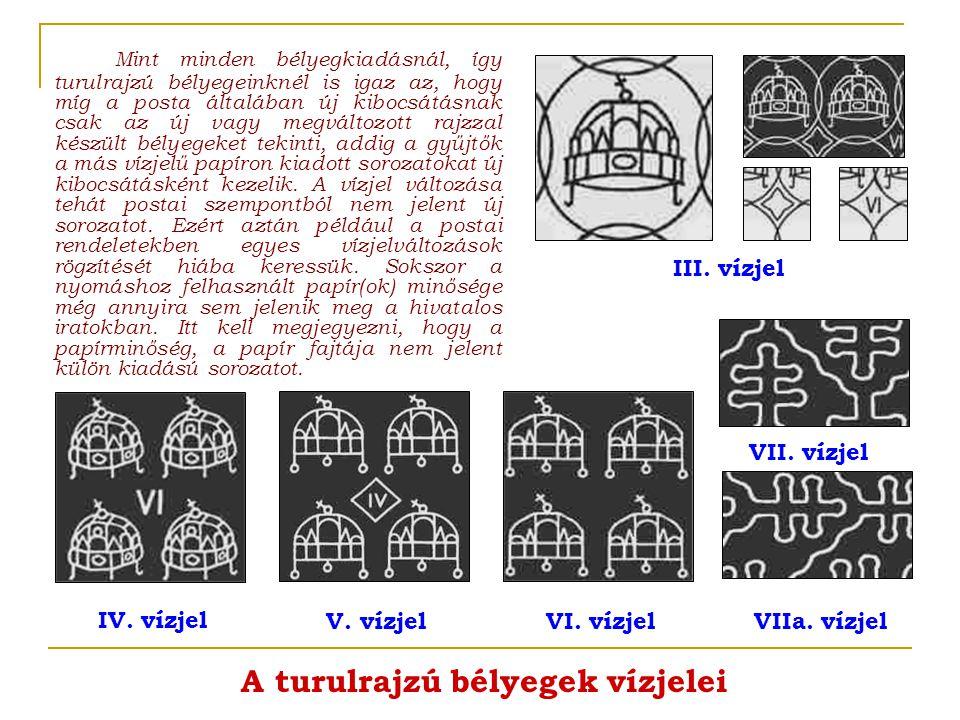 A turulrajzú bélyegek vízjelei