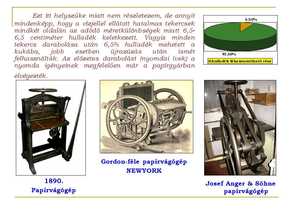 Gordon-féle papírvágógép Josef Anger & Söhne papírvágógép