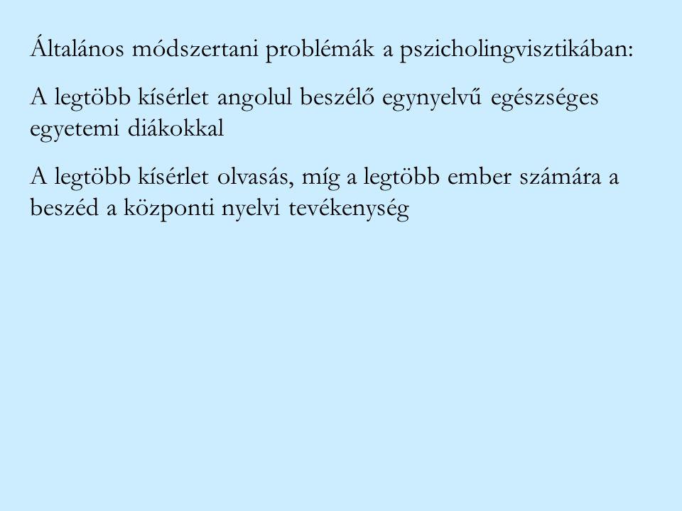 Általános módszertani problémák a pszicholingvisztikában: