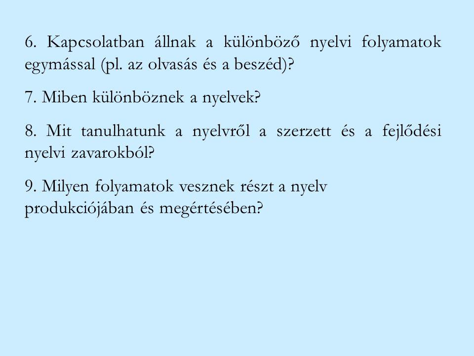 6. Kapcsolatban állnak a különböző nyelvi folyamatok egymással (pl