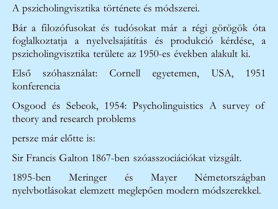 A pszicholingvisztika története és módszerei.