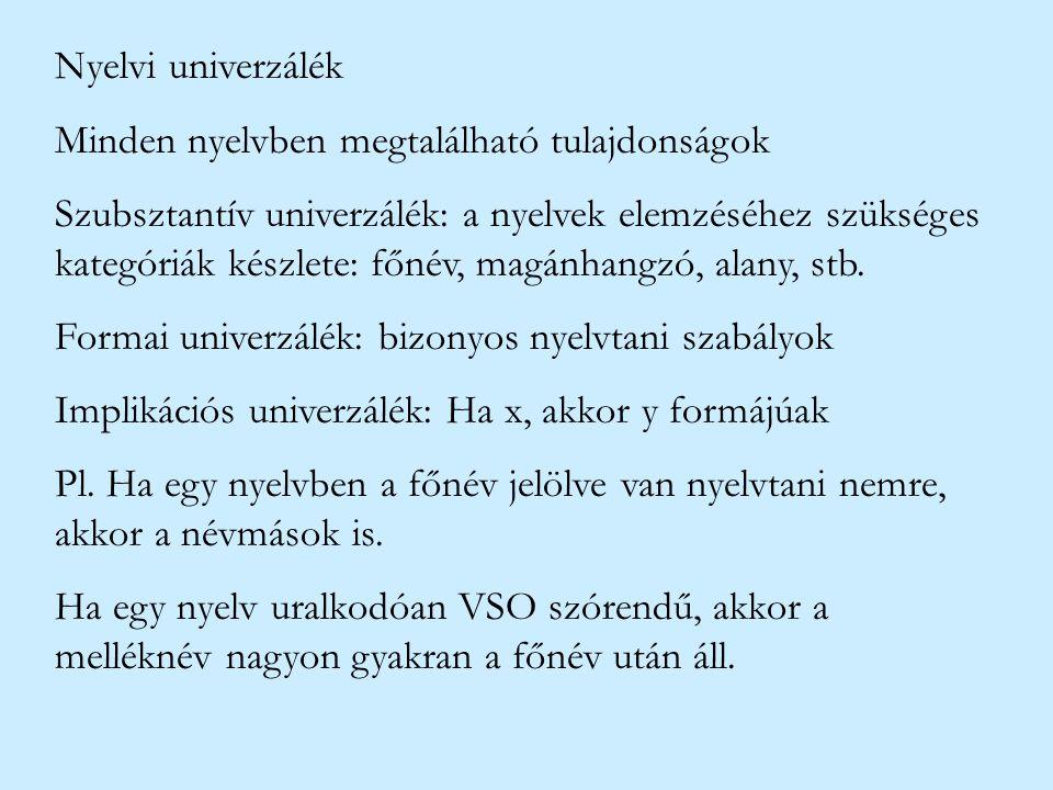 Nyelvi univerzálék Minden nyelvben megtalálható tulajdonságok.