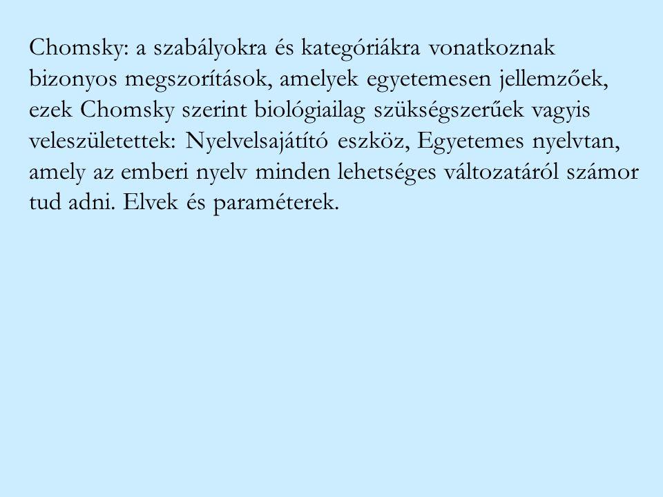Chomsky: a szabályokra és kategóriákra vonatkoznak bizonyos megszorítások, amelyek egyetemesen jellemzőek, ezek Chomsky szerint biológiailag szükségszerűek vagyis veleszületettek: Nyelvelsajátító eszköz, Egyetemes nyelvtan, amely az emberi nyelv minden lehetséges változatáról számor tud adni.