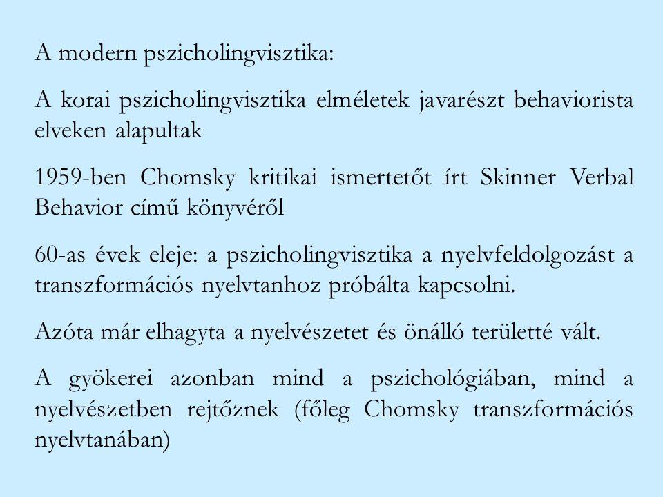 A modern pszicholingvisztika: