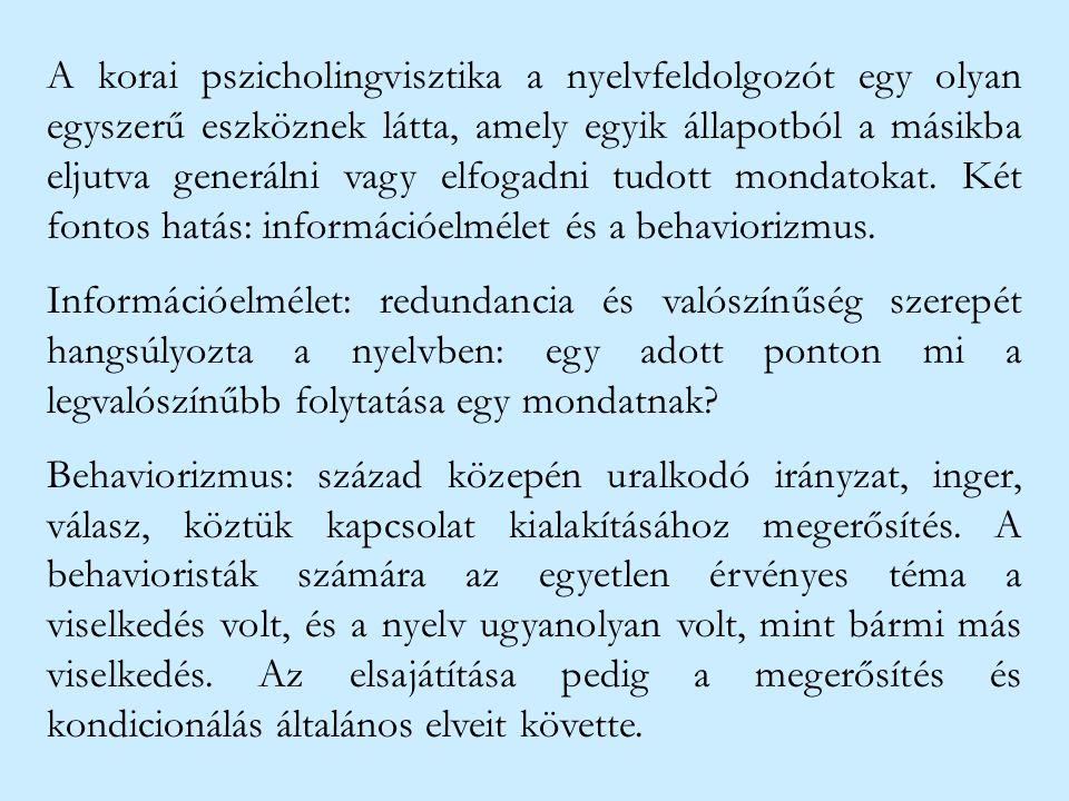 A korai pszicholingvisztika a nyelvfeldolgozót egy olyan egyszerű eszköznek látta, amely egyik állapotból a másikba eljutva generálni vagy elfogadni tudott mondatokat. Két fontos hatás: információelmélet és a behaviorizmus.