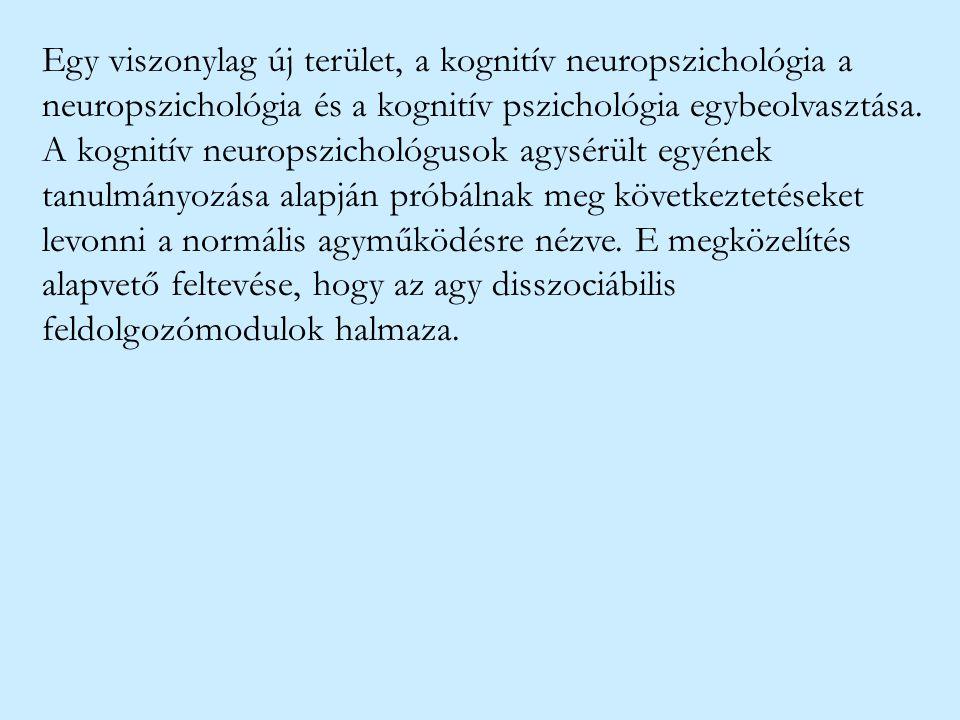 Egy viszonylag új terület, a kognitív neuropszichológia a neuropszichológia és a kognitív pszichológia egybeolvasztása.