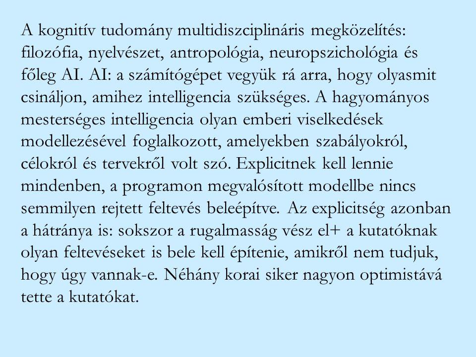 A kognitív tudomány multidiszciplináris megközelítés: filozófia, nyelvészet, antropológia, neuropszichológia és főleg AI.