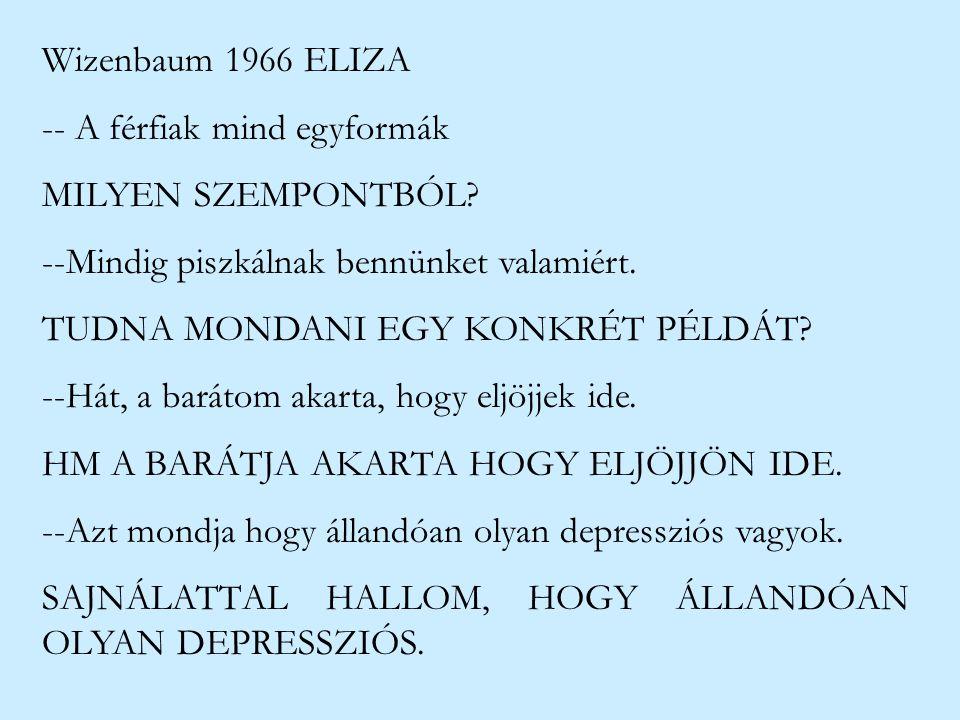 Wizenbaum 1966 ELIZA -- A férfiak mind egyformák. MILYEN SZEMPONTBÓL --Mindig piszkálnak bennünket valamiért.